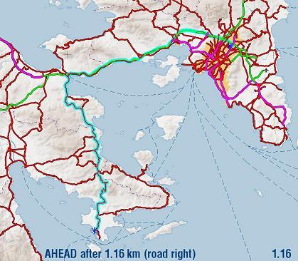 Χάρτης διαδρομής Αθήνα-Πόρτο Χέλι